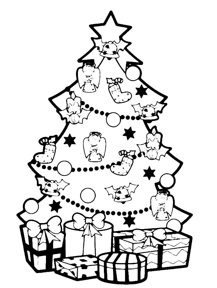 Раскраска елка с подарками | Раскраски для детей ...