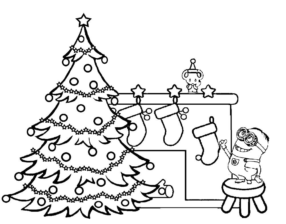 Раскраска Миньон и новогодняя елка