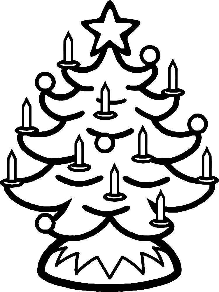 Раскраска ёлка со свечами