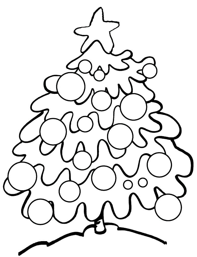 Раскраска новогодняя елка в лесу