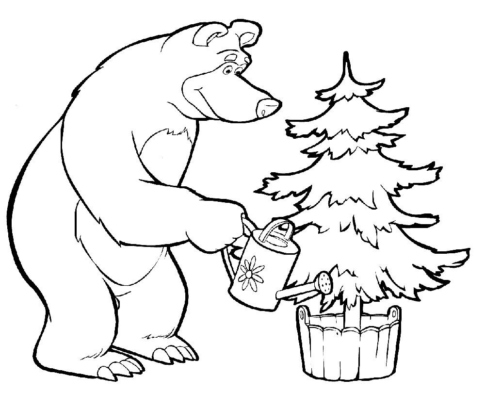 Раскраска мишка и елка
