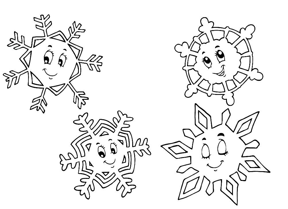 Картинка снежинки для детей раскраска