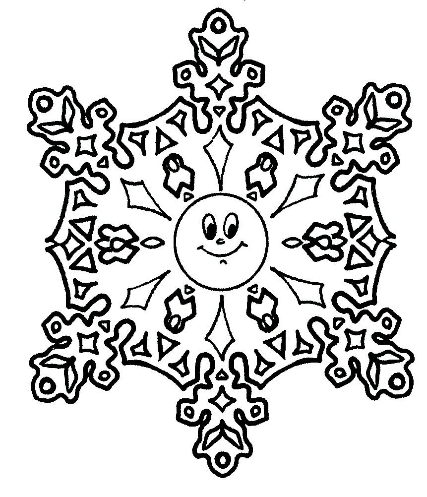 Раскраска снежинка солнце