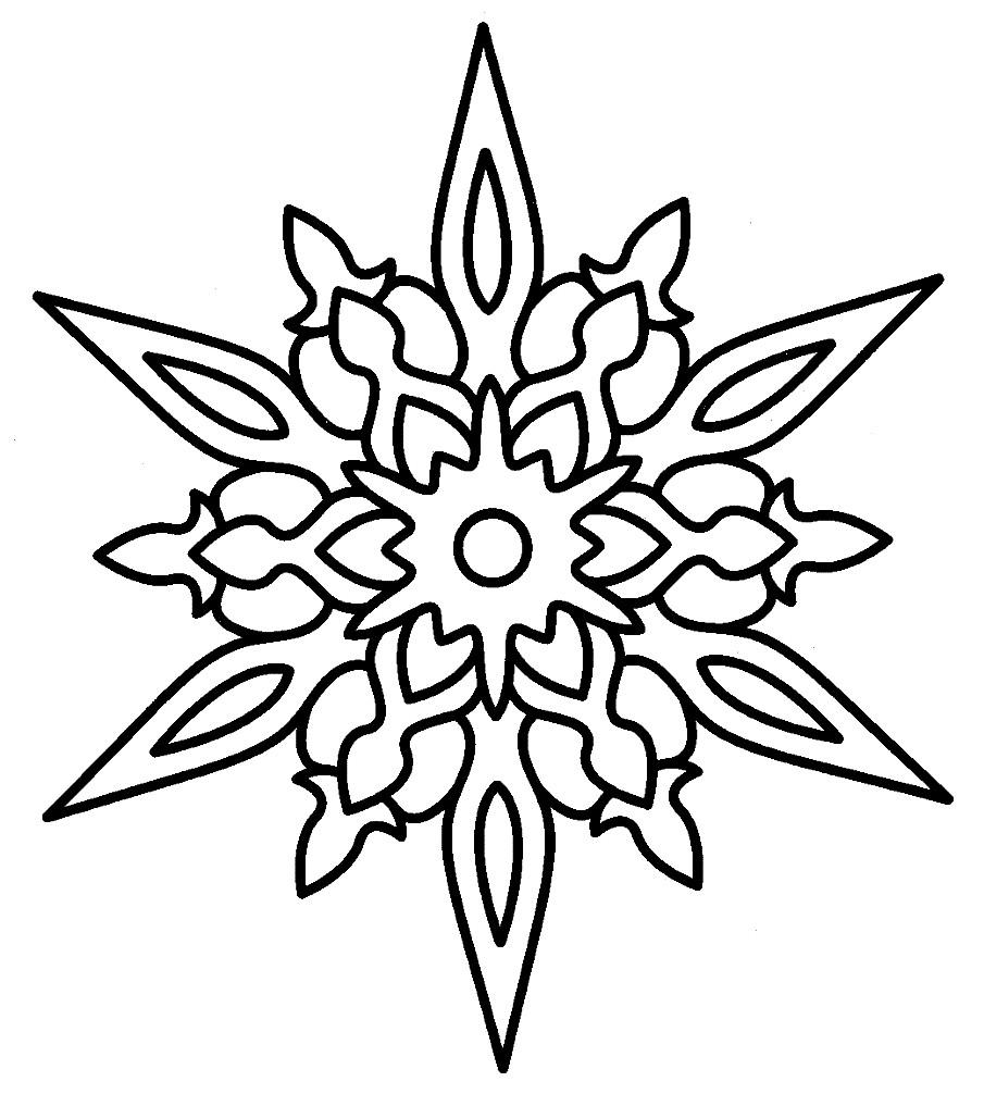 Раскраска красивая снежинка