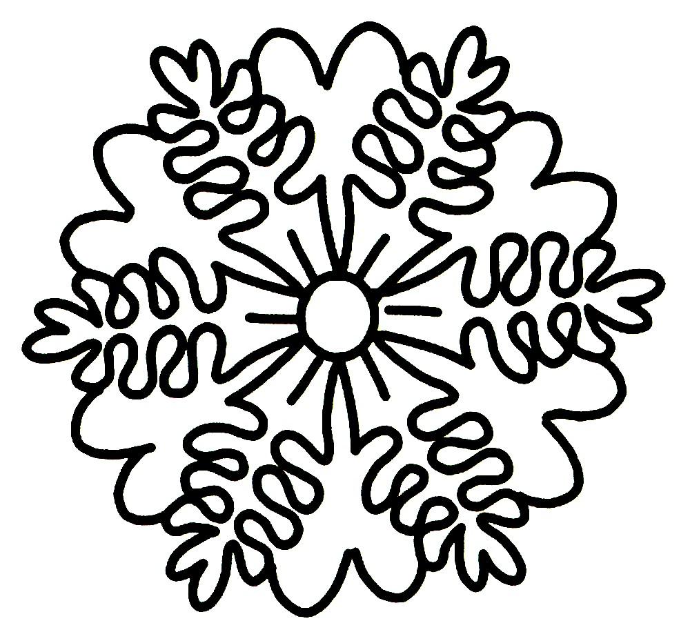 Раскраска снежинка большая