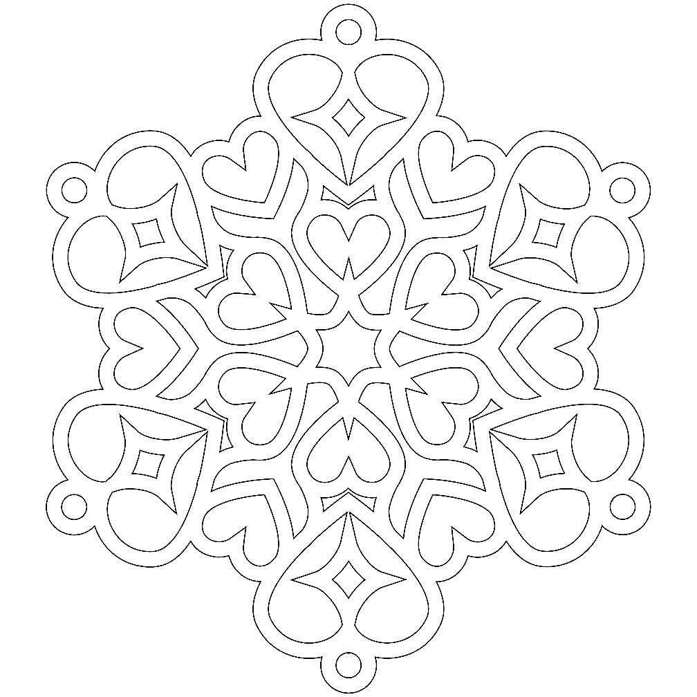 Раскраска снежинка из сердечек