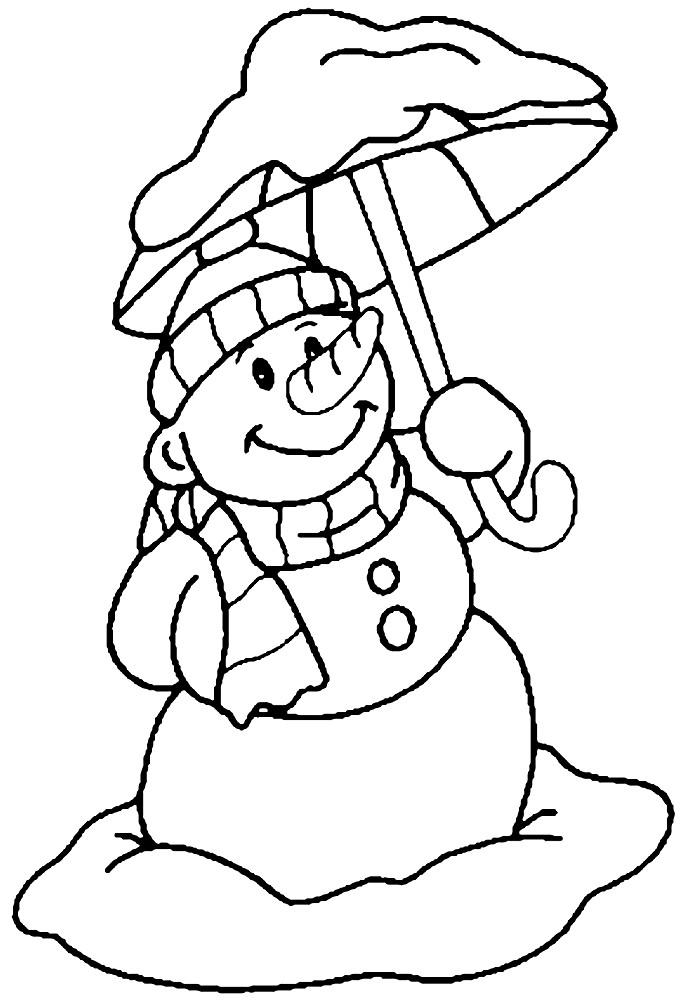 Раскраска снеговик с зонтом