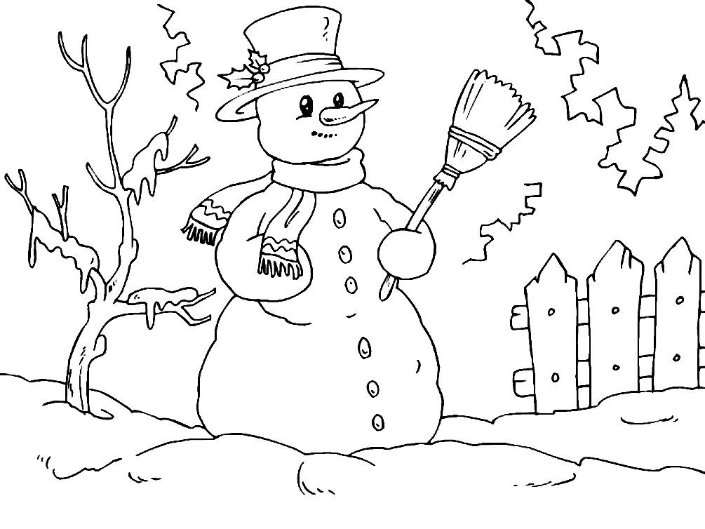 Раскраска cнеговик в шарфе и шляпе