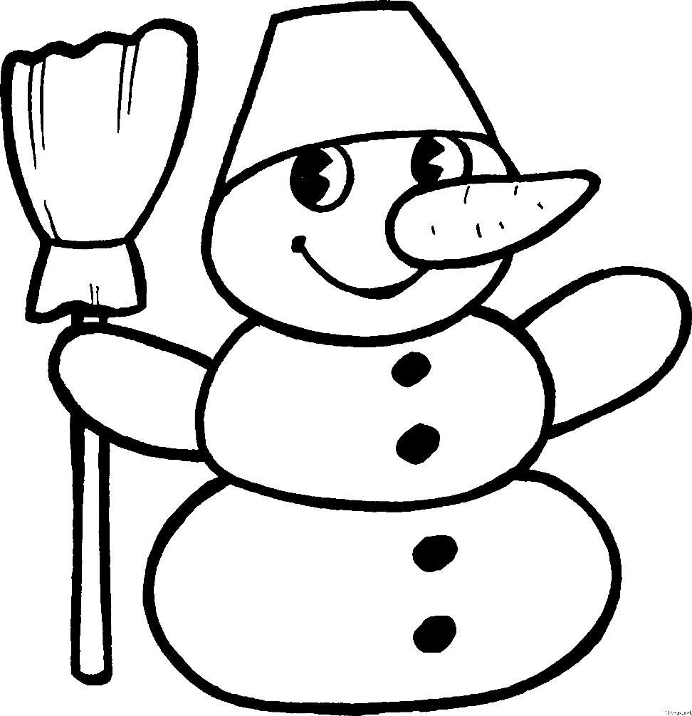 Раскраска снеговик для малышей