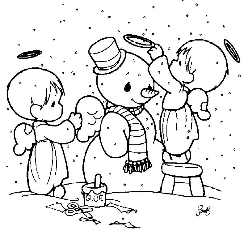 Раскраска снеговик ангелов