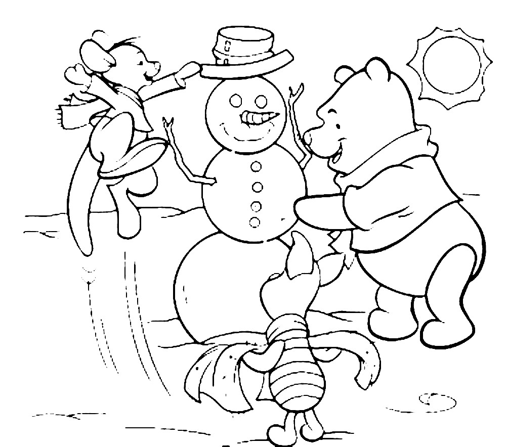Раскраска снеговик и его друзья