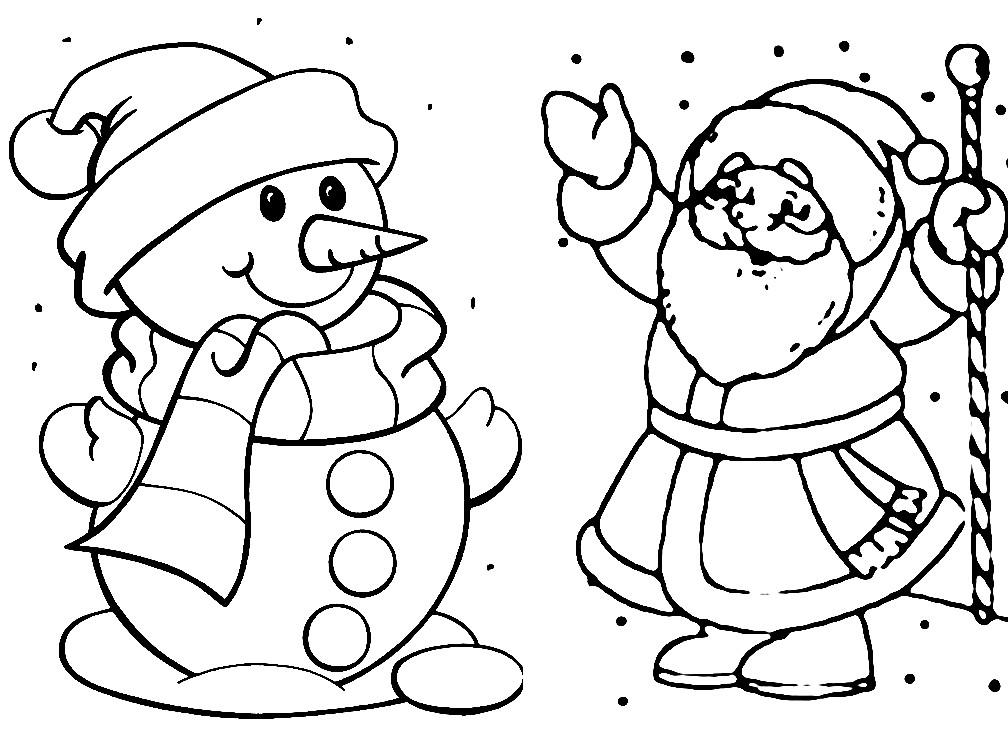 Раскраска снеговик и Дед Мороз