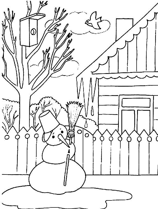 Раскраска снеговик начал таять