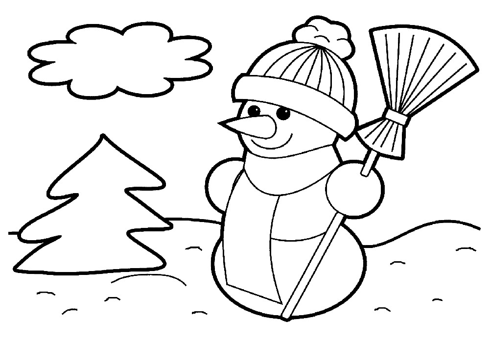 Раскраска снеговик и елочка
