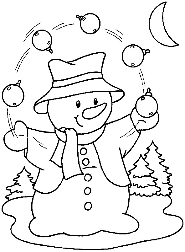 Раскраска снеговик жонглер