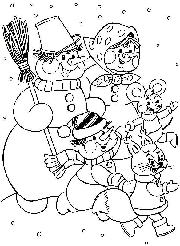 Раскраска снеговики новогодние