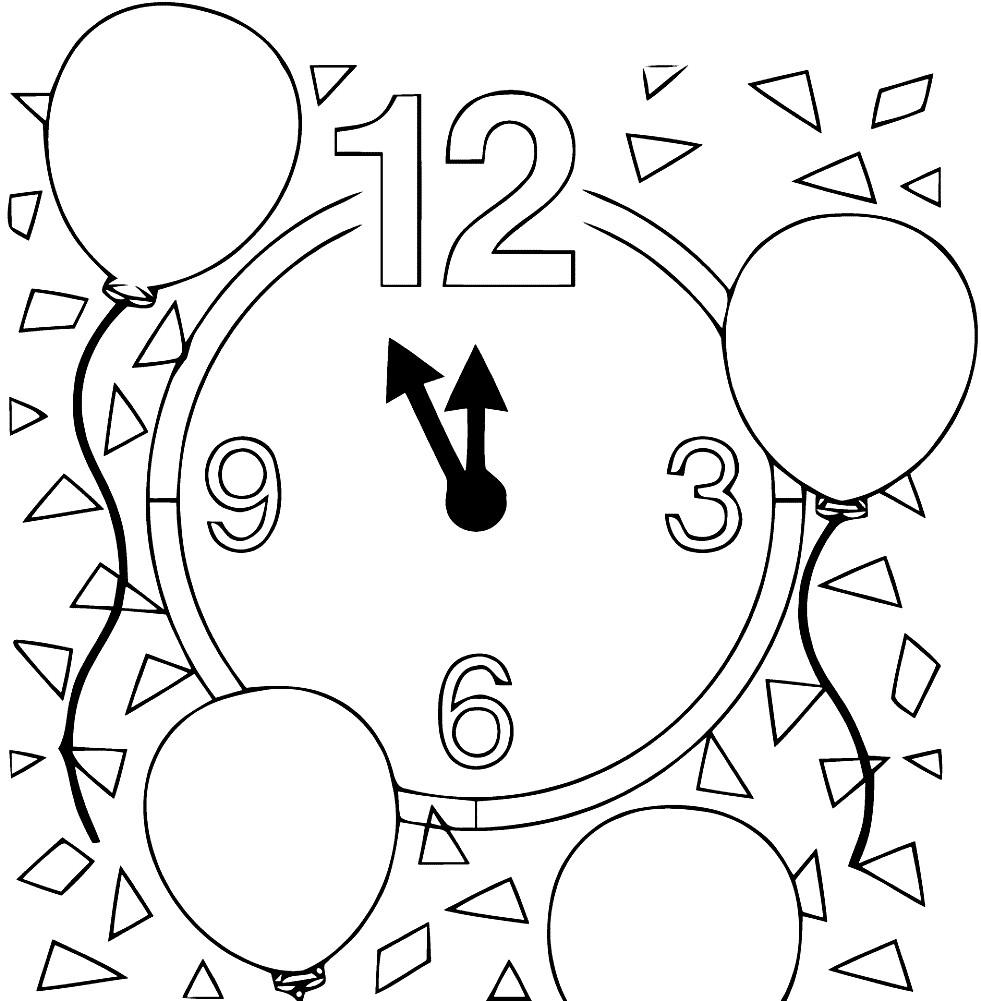 Раскраска новогодние часы