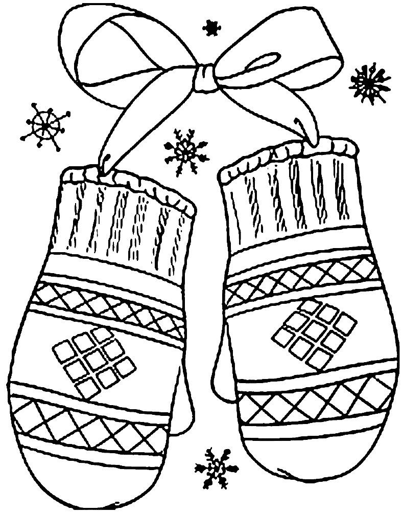 Раскраска новогодние варежки