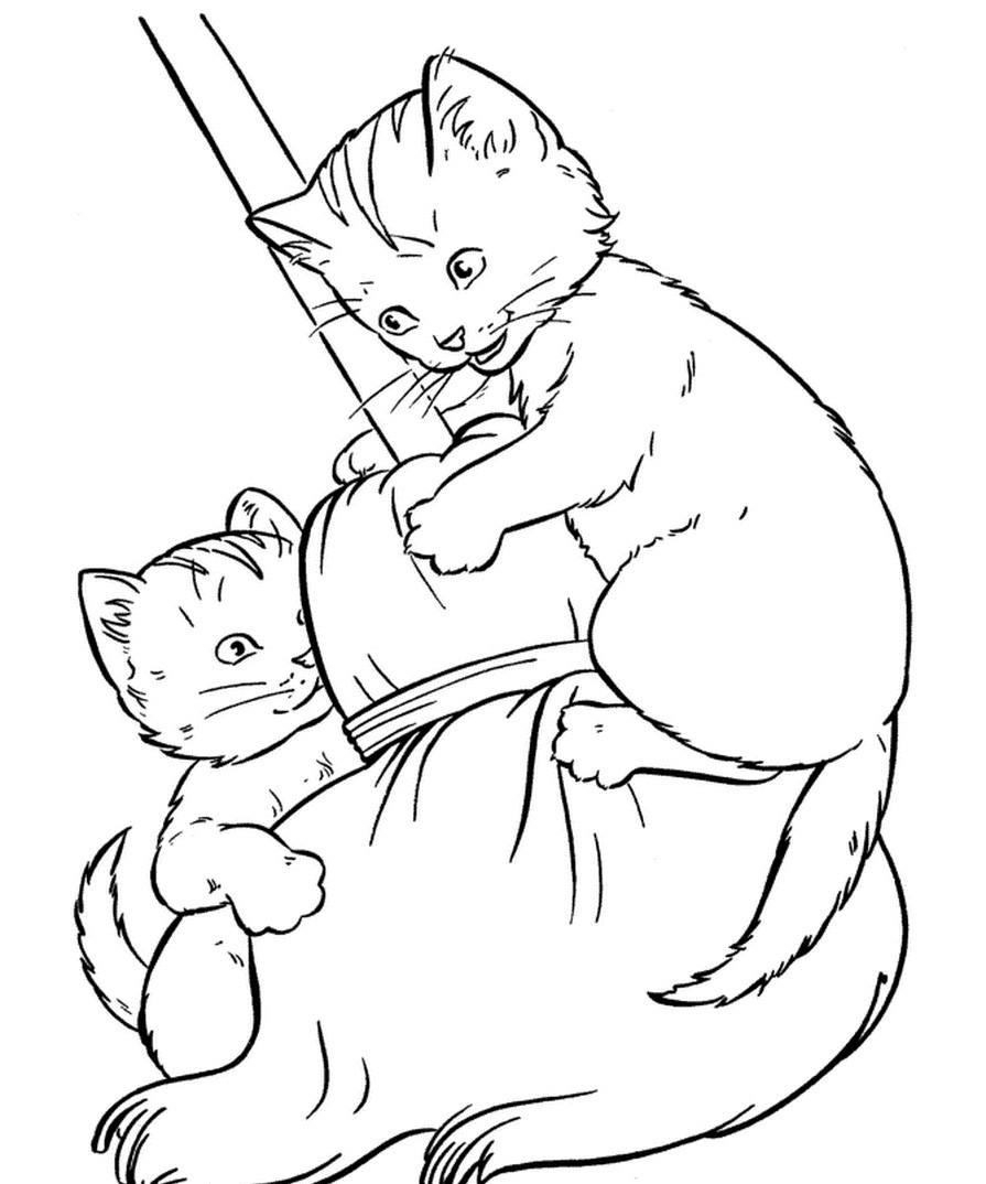 Раскраска котята на метле
