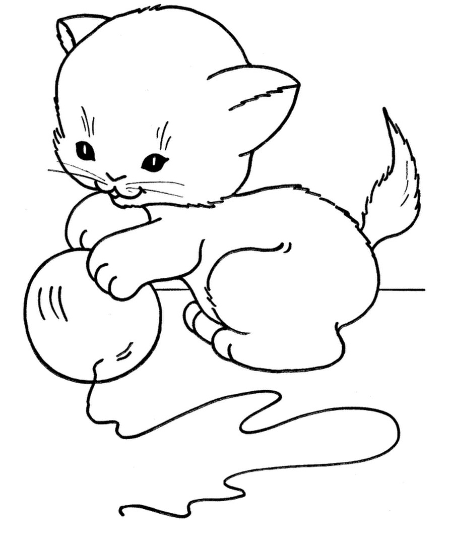 Раскраска котенок играет с клубком