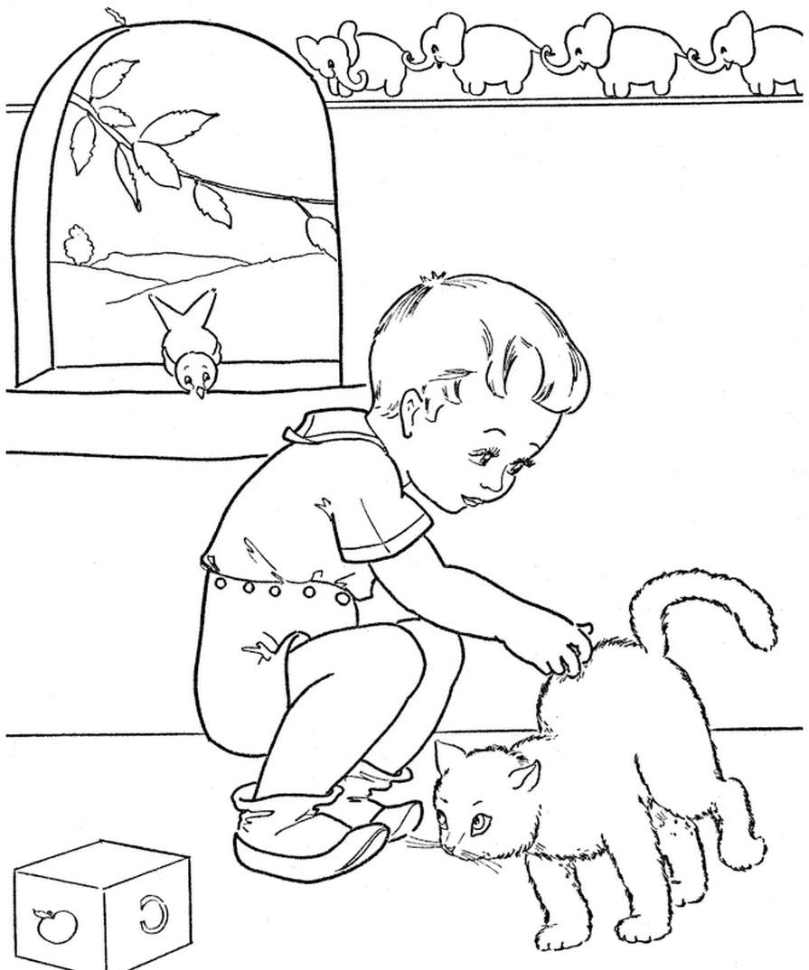 Раскраска мальчик гладит кошку