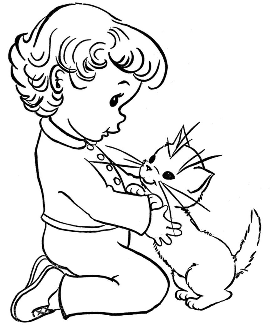 Раскраска котенок в добрых руках
