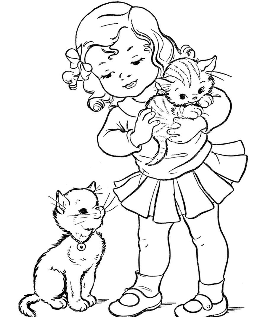 Раскраска девочка с котятами   Раскраски для детей ...