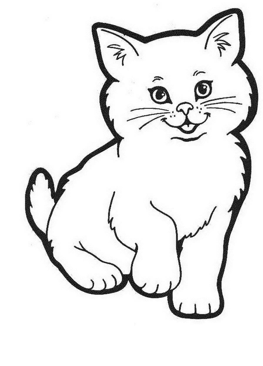 Раскраска воспитанный котенок