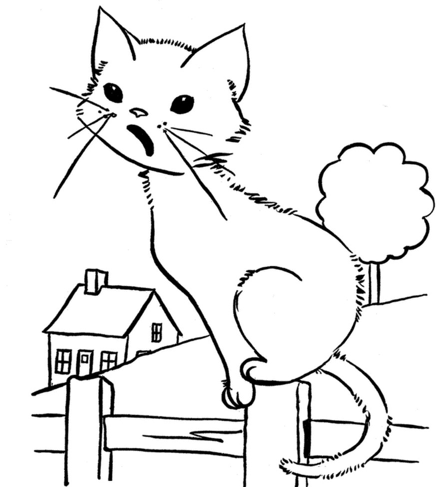 Раскраска мяукающий котенок