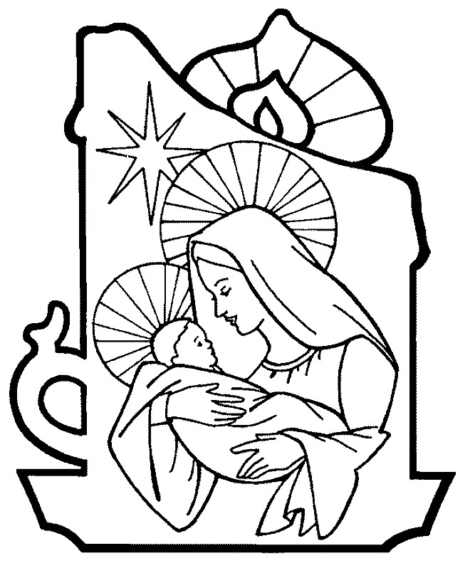 Раскраска дева Мария с ребенком