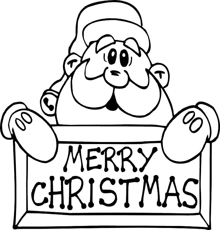Раскраска открытка Merry Christmas