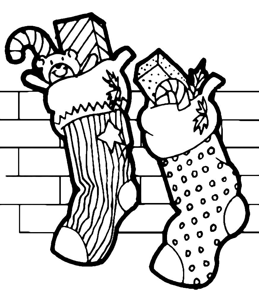 Раскраска Рождественские носки с подарками