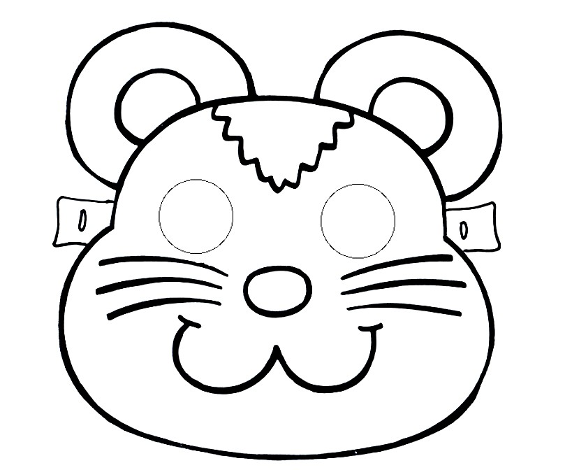 Раскраска маска медвежонок