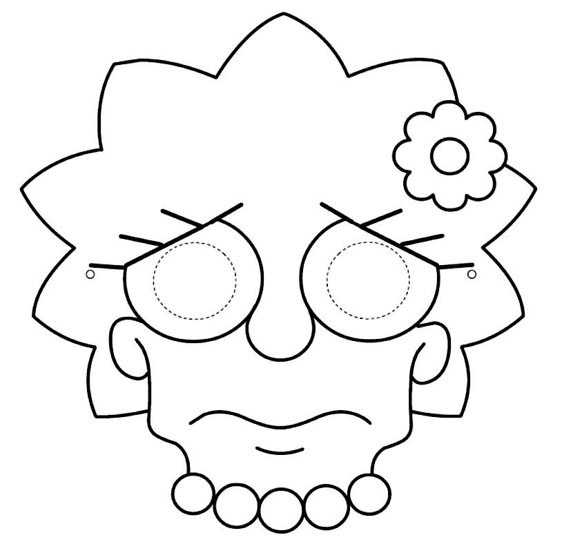 Раскраска маска Лизы из Симпсонов