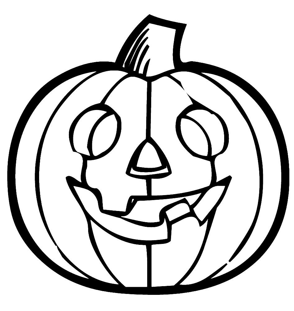 Раскраска маска тыква Хэллоуин