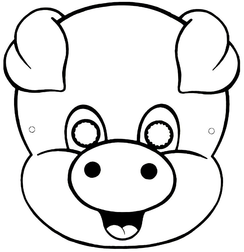 Раскраска маска свиньи