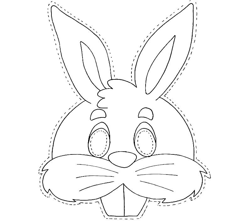 Раскраска маска кролик