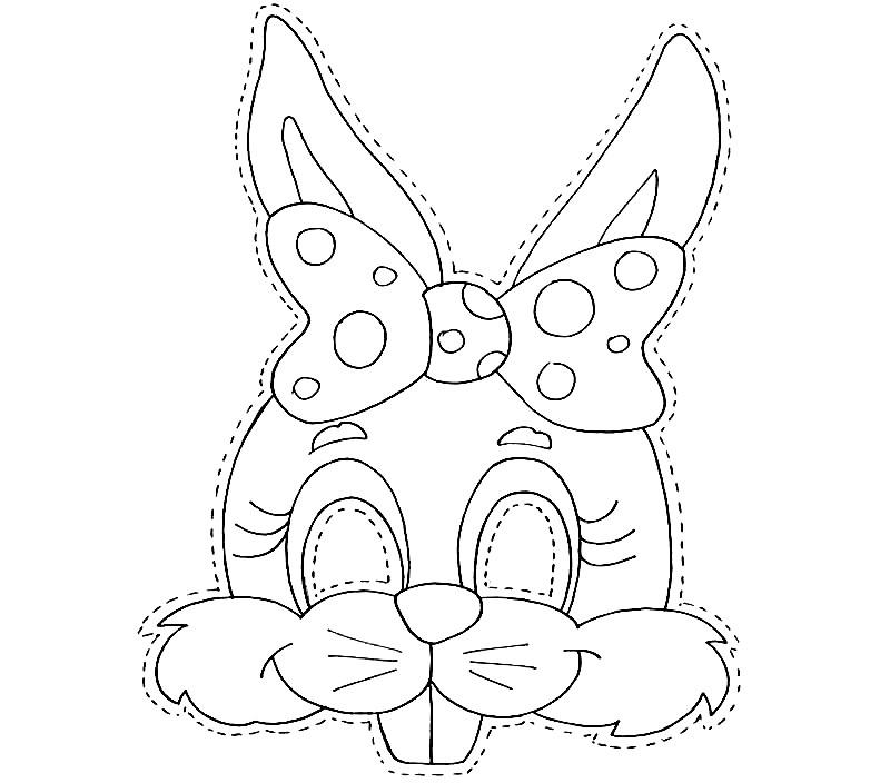 Раскраска маска кролик девочка