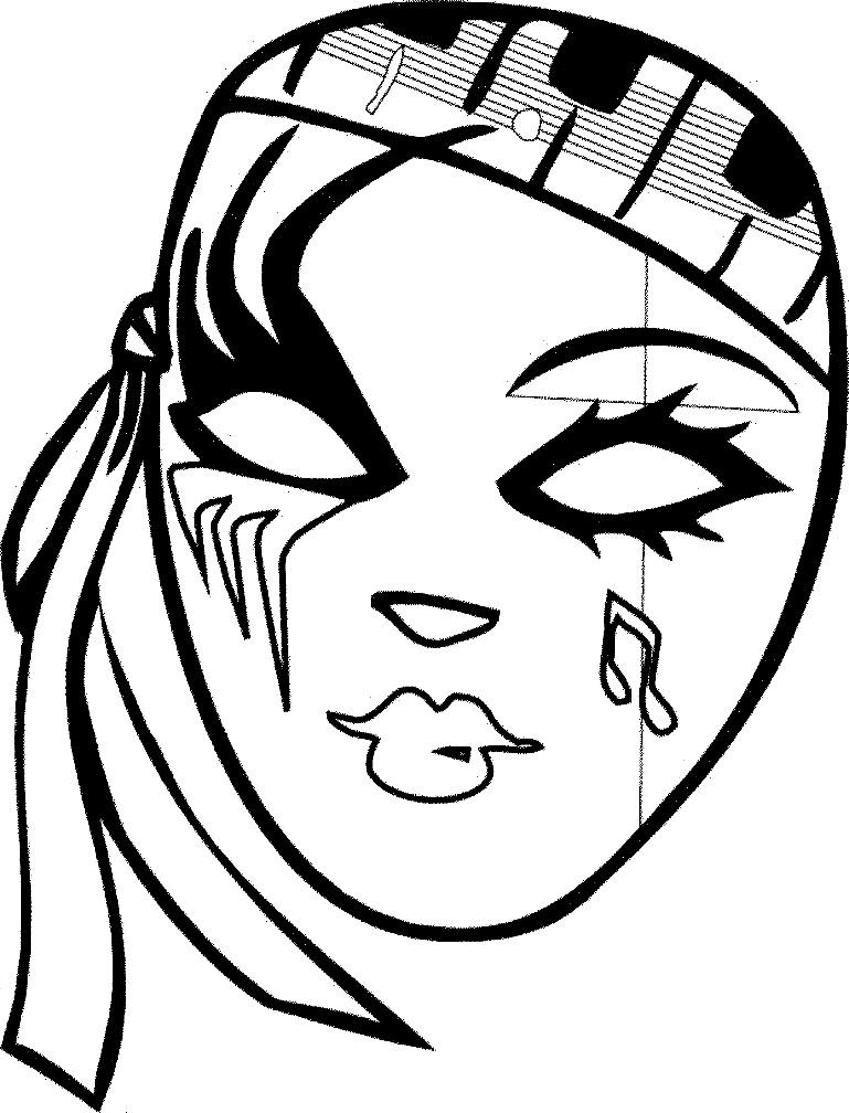 Раскраска театральная маска