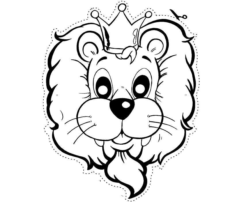 Раскраска маска лев