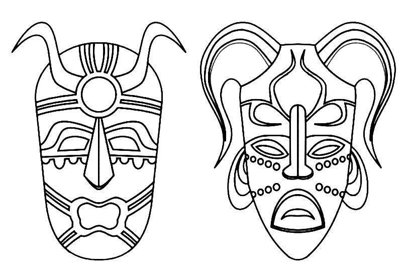 Раскраска маски племени Майя