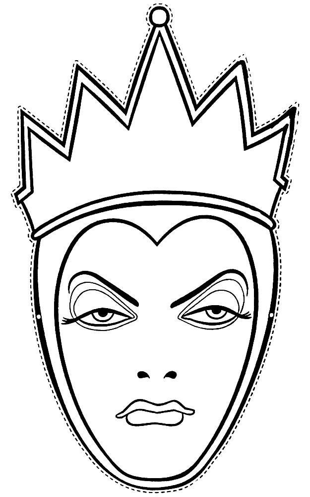 Раскраска маска Снежная королева