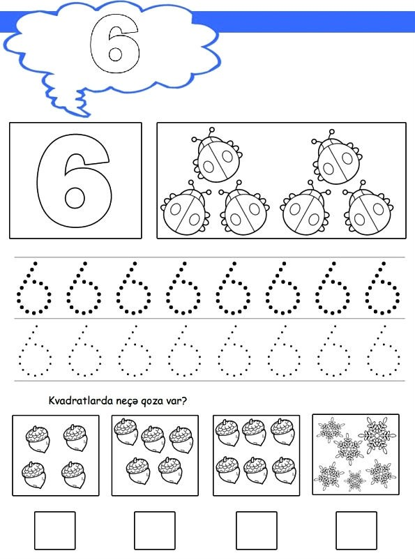 Раскраска цифра 6 прописью