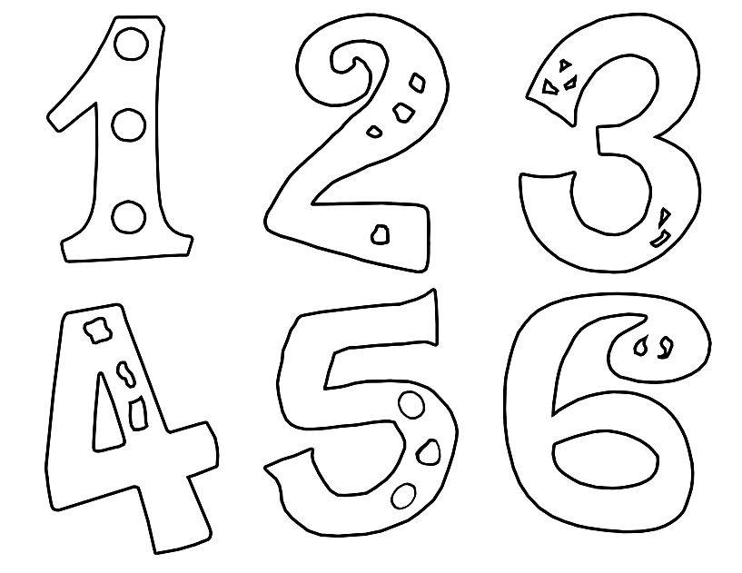 Раскраска цифры от 1 до 6