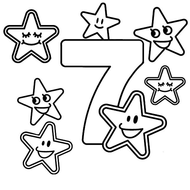Раскраска веселая цифра 7
