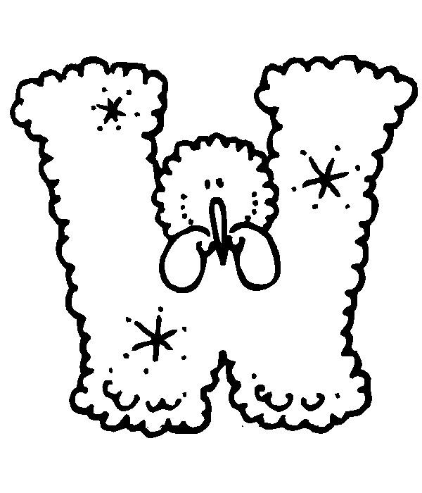 Раскраска буква W английского алфавита