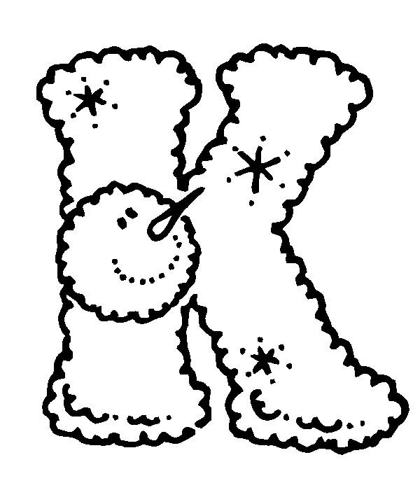 Раскраска буква K английского алфавита