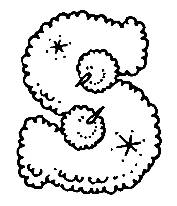 Раскраска буква S английского алфавита