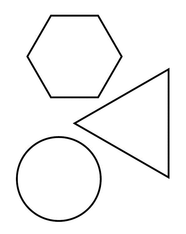 Раскраска круг, треугольник и шестиугольник