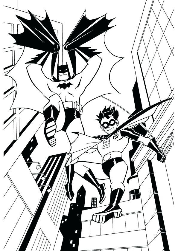 Бэтмен и Робин из вселенной супер друзья раскраска